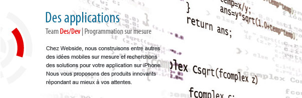 Webside vous propose des applications sur mesure